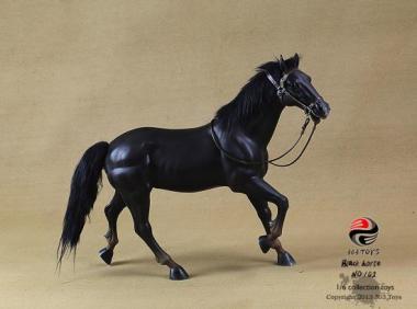 Pferd, Galoppierend mit Echthaar Schwarz