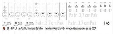 1:6 Decal Beschriftung 3.7 cm Pak Munition und Behälter