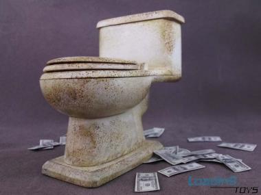 WC mit Dollar Scheine