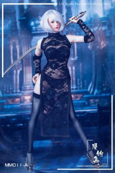 1/6 MISS Lace Cheongsam Set - in schwarz