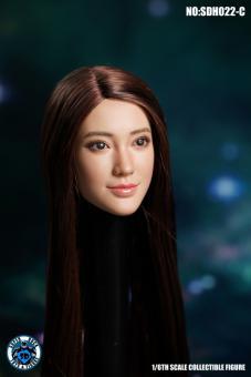 Asian Head Braun Hair im Maßstab 1:6