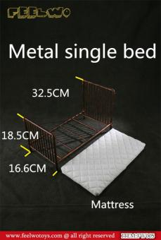 Diecast Single Bed with Mattress (Black) 1/6