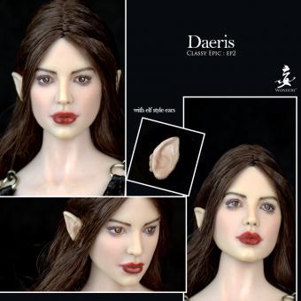 Daeris - Female Character (pale) Kopf mit zwei Paar Ohren - im Maßstab 1:6