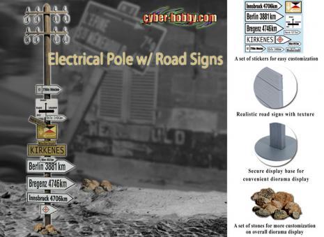Strommast mit verschiedenen Wegweisern im Maßstab 1:6 - Cyberhobby Exclusive Set