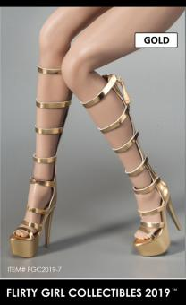 1/6 Female Heeled Boots (Gold) im Maßstab 1:6