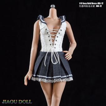 1/6 Female Sexy Grid Dress (Blue)