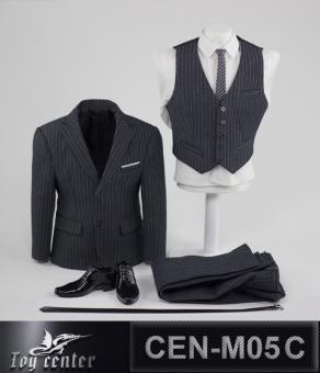 Gentlemen Striped Suit Set (Grey) 1/6