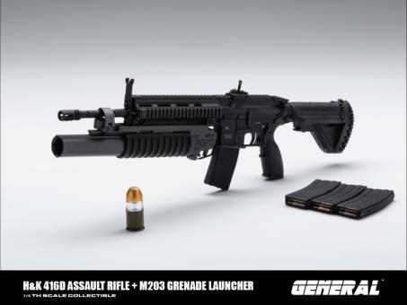 HK416D Assault Rifle with M203 Grenade Launcher (Black) 1/6