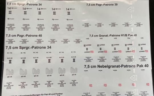 Munitionsbeschriftungen für Pak 40 und Panther