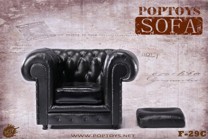 British Chesterfield Sessel - im Maßstab 1:6 Schwarz - im Maßstab 1:6