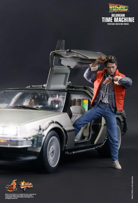 DELOREAN TIME MACHINE and  Marty McFly Collectible Figure