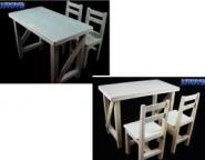 Tisch mit 2 Stühlen - Holz (grau)